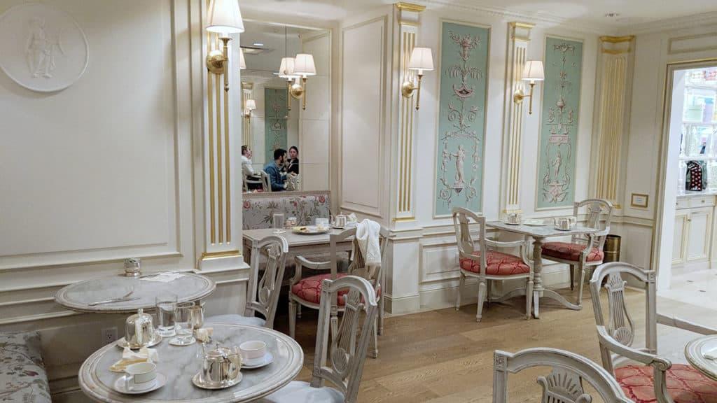 Inside the Parisian themed tea salon.