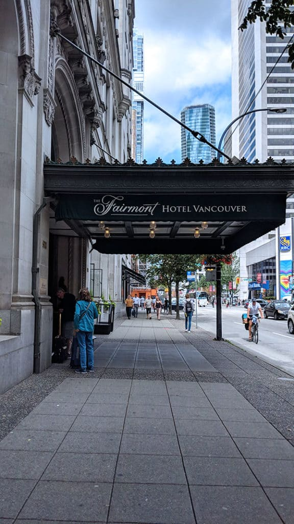 Awning of the Hotel Vancouver front entrance.