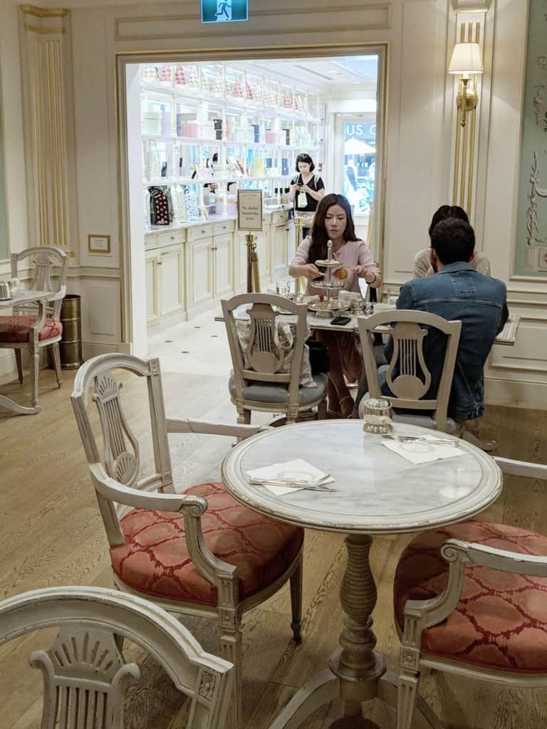 Inside the Laduree tea salon.