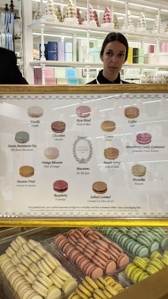 An info graphic of the different Laduree macaron flavours.