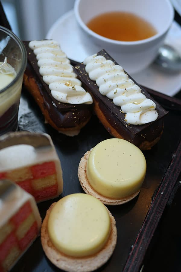 Earl grey eclair along with other desserts.