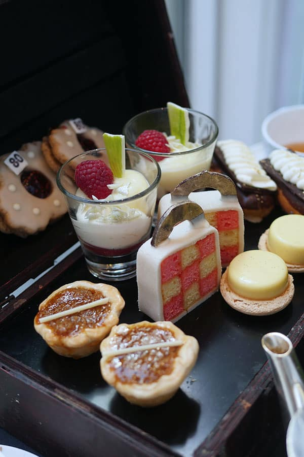 Desserts are served in a e jewel box.