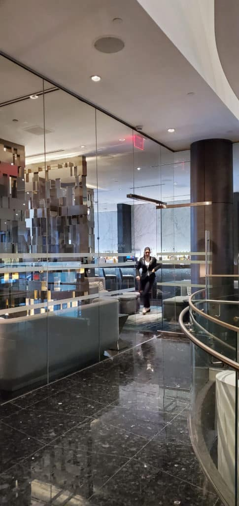 Glass door entrance at Trump hotel Vancouver