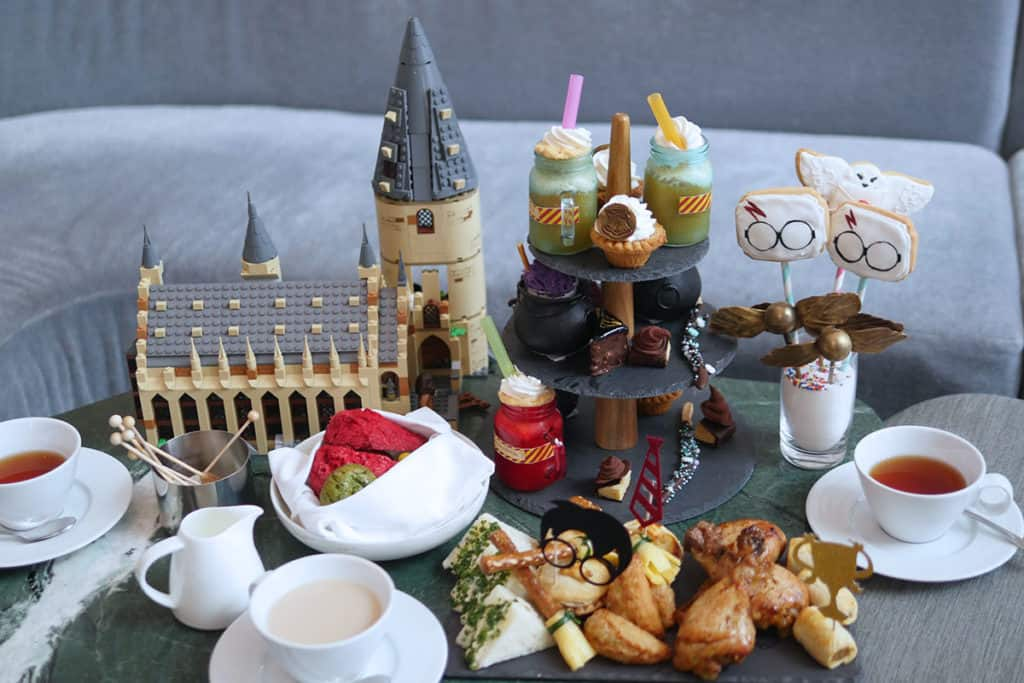 Harry potter castle next to the School of Magic afternoon tea set.