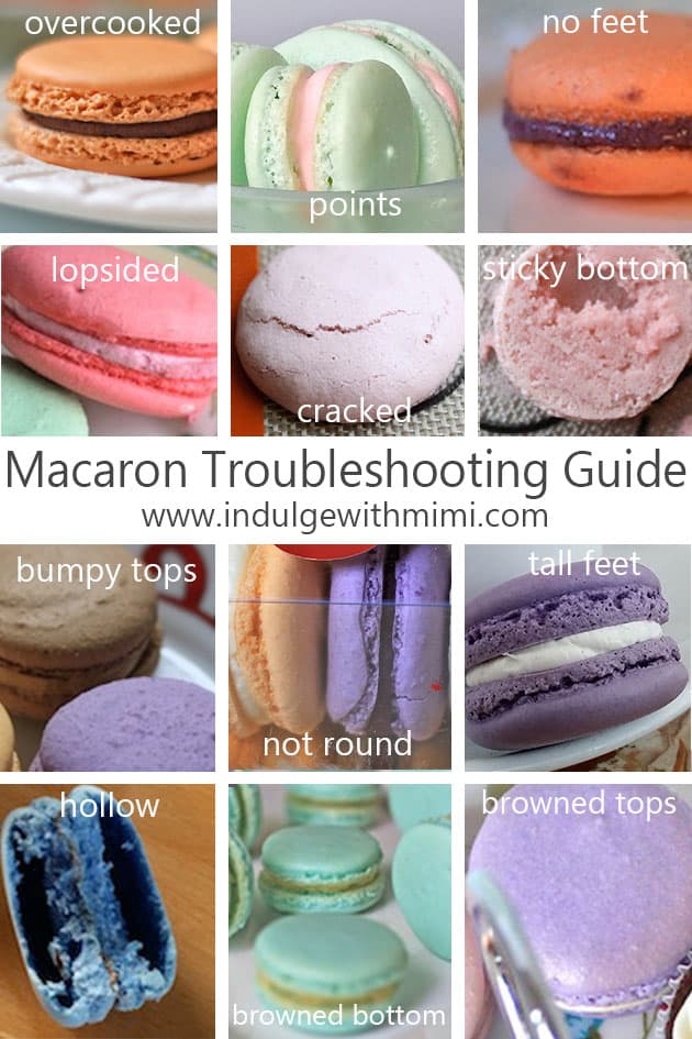 A variety of different macarons with problems like lopsided, cracked, sticky bottom, nipples, browned are shown.