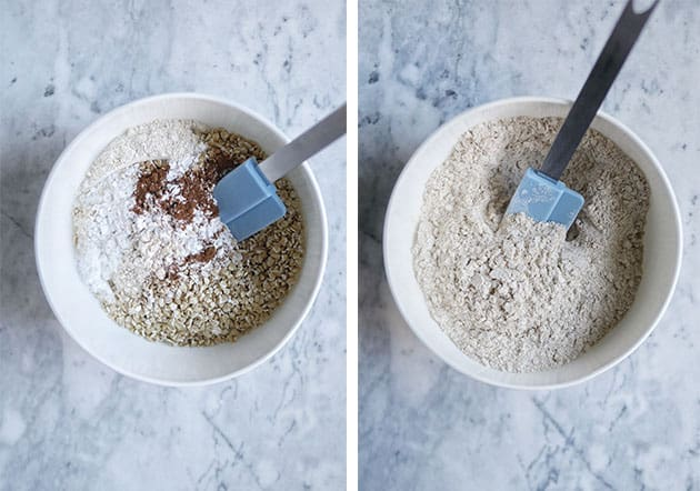 Small bowl with dry ingredients of cinnamon, einkorn flour and oats.