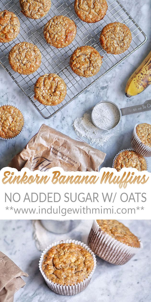 Banana oat muffins laid out with ingredients and tools.