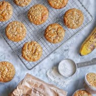 Whole Wheat Einkorn Banana Muffins with Oats (No Added Sugar)