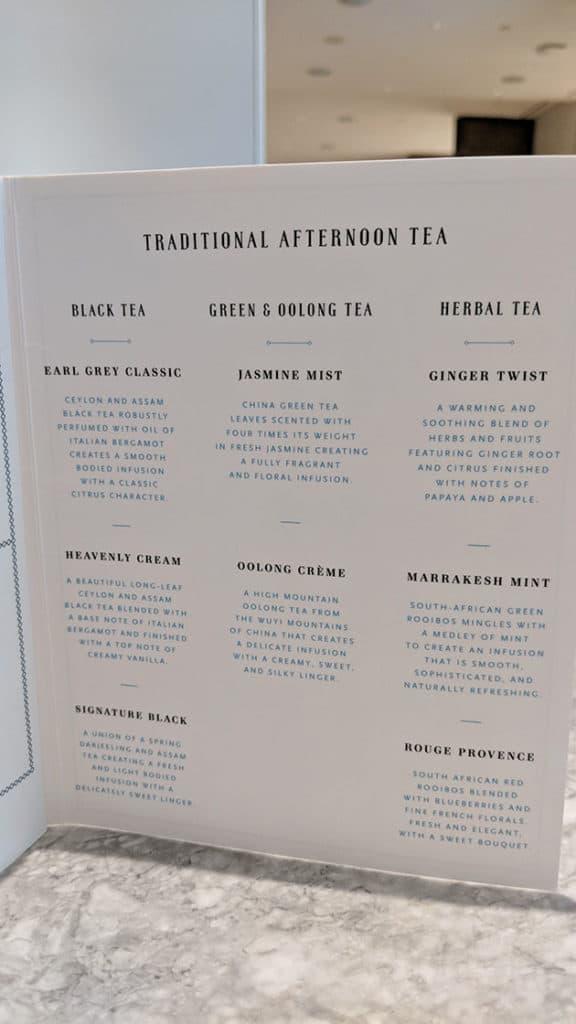 Tea menu at Colette Grand Cafe