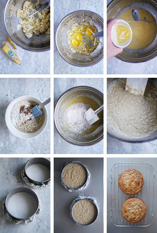 9 step-by-step photos on how to make a healthy banana cake.