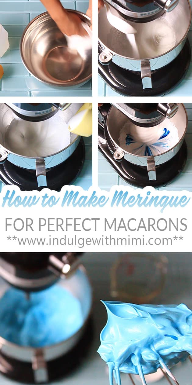 A series of baking steps in the process of making meringue for macarons.
