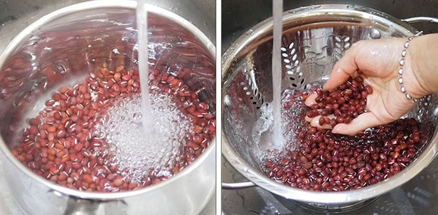 Red beans being washed and drained.