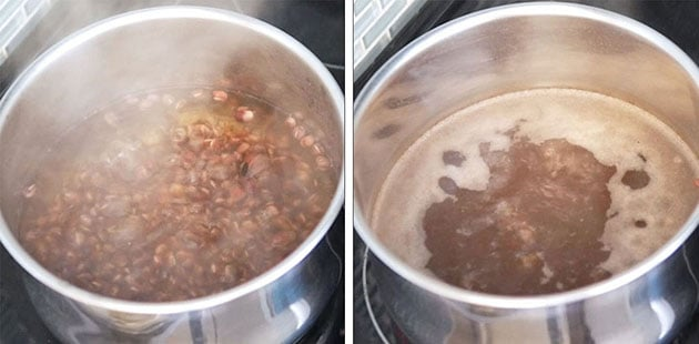 Red beans boiling in a pot with steam coming out.