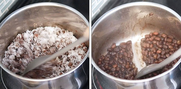 Sugar and red bean being boiled in a pot. A line drawn inside the Adzuki bean paste.