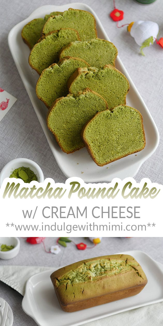 Many slices of matcha pound cake shown open faced on a long white plate.
