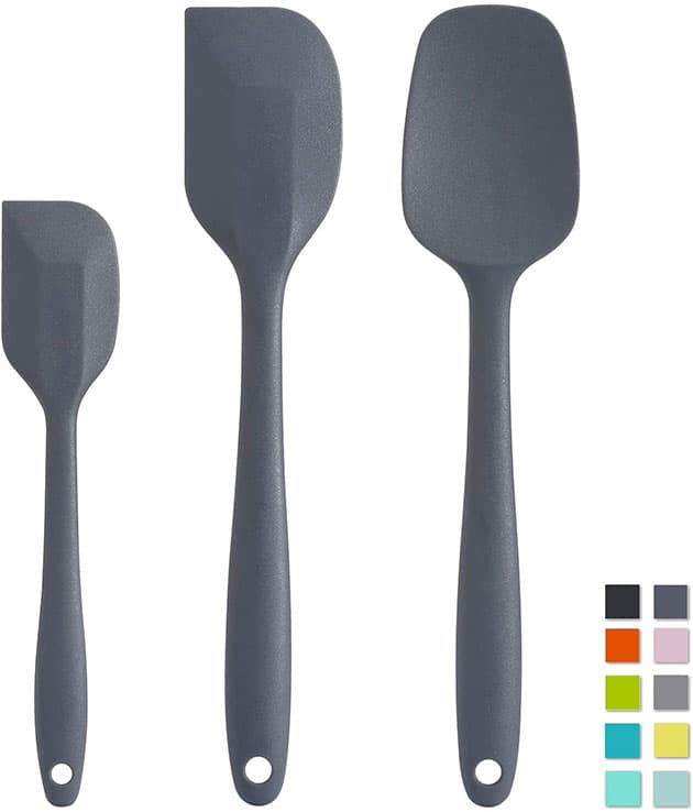 Cooptop Premium Silicone Spatula Set of 3 - Heat Resistant Baking Spoon & Spatulas - Pro Grade Non-stick Silicone with Steel Core (Dark Grey)