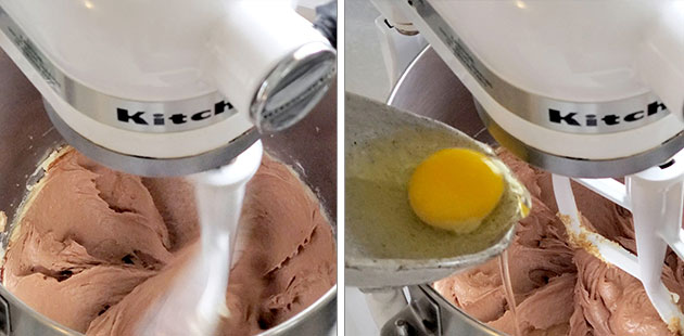 An egg being poured into the chocolate cream cheese pound cake batter.