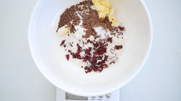 Ingredients for sourdough discard cracker in a big mixing bowl.