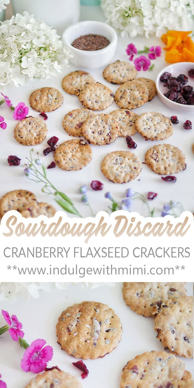 Close up with sourdough discard cranberry flaxseed crackers.