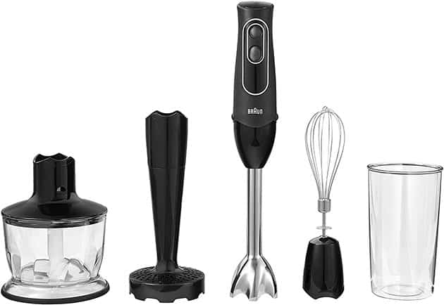 Braun 4-in-1 Immersion Hand Blender, Powerful 350W Stainless Steel Stick Blender, Multi-Speed + 2-Cup Food Processor, Whisk, Beaker, Masher, Easy to Clean, Black, MultiQuick MQ537BK