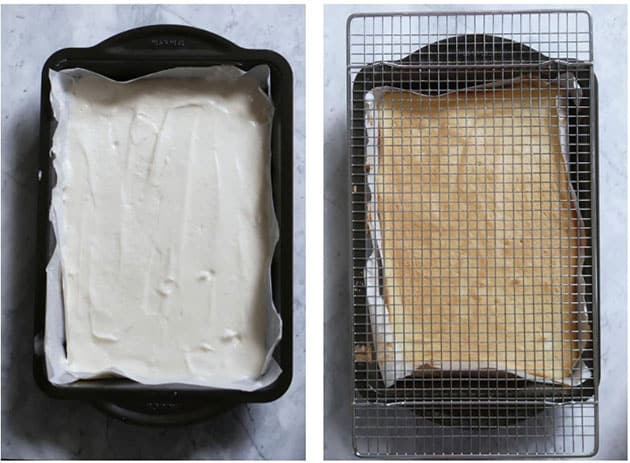 2 empty pans, one filled with batter, the other holds a baked peach cake with golden crust.