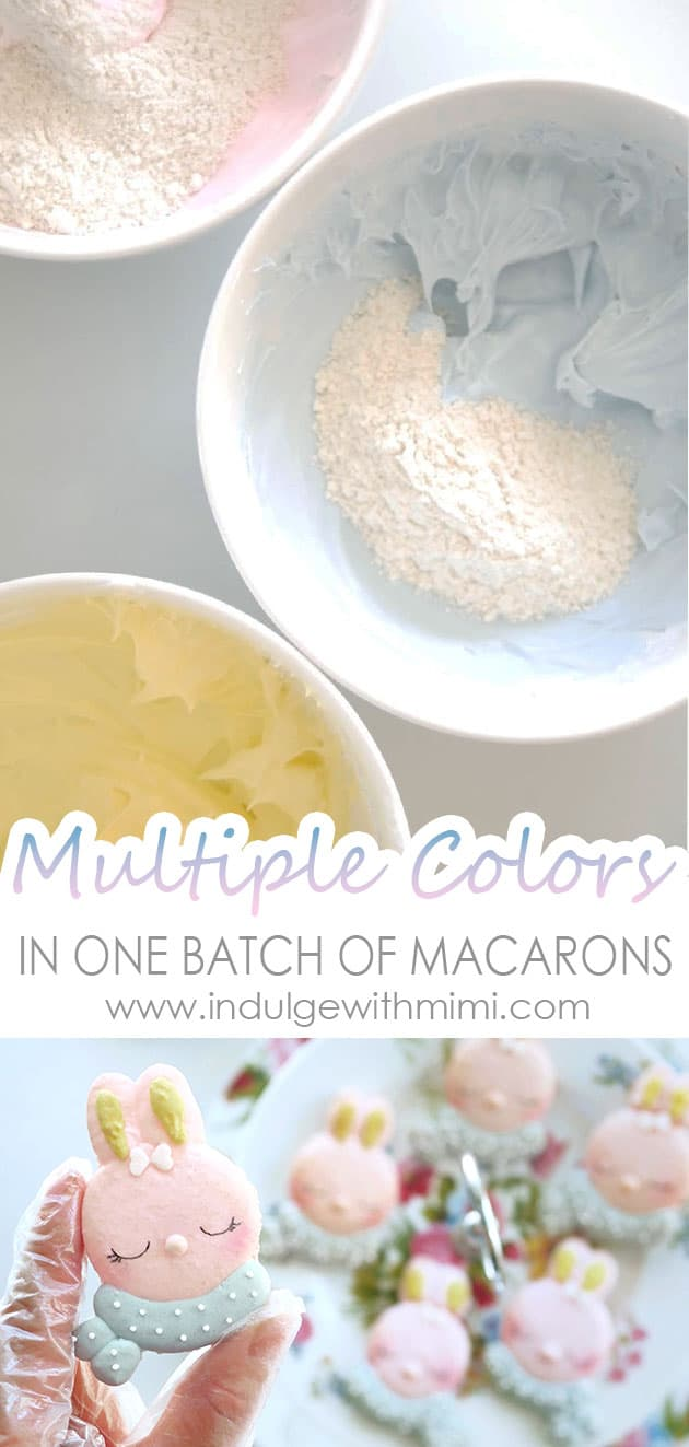 Multiple bowls filled with different colored meringue and almond flour to make multiple colors in one batch of macarons.