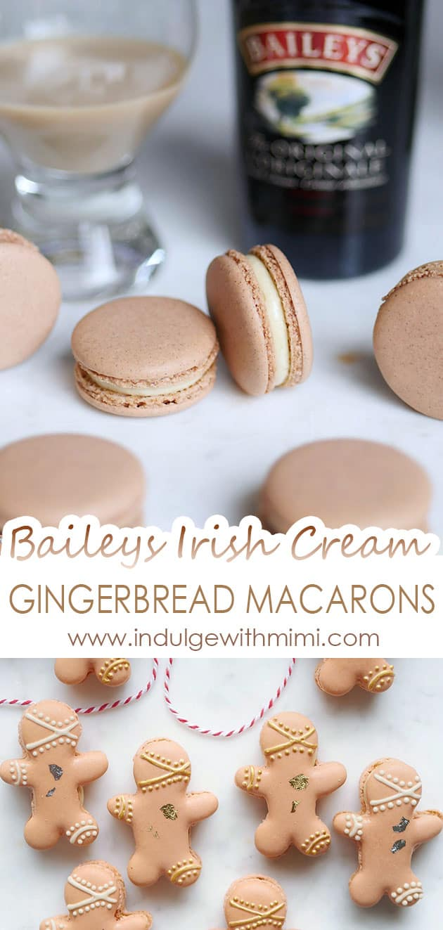 Macarons on a marble filled with Baileys Cream filling. Bottom photo is macarons in gingerbread man shape.
