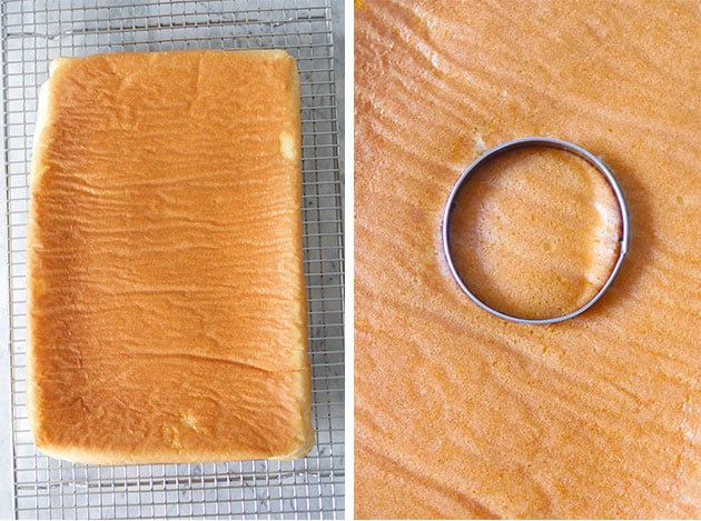 Upside down sheet chiffon cake on a wire rack, next picture is a cookie cutter cutting into the peach sheet cake.