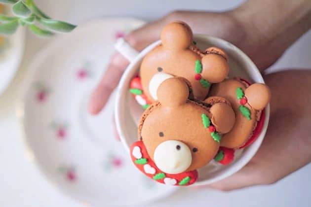 Peppermint chocolate bear macarons in a teacup held with open hands.