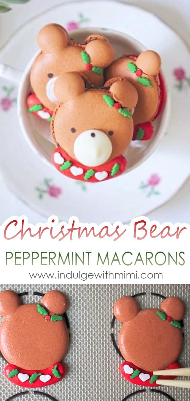 Christmas bear macarons in a tea cup, below is picture of macaron bears on a silicone mat with holly sprinkle being added on.
