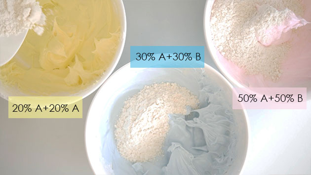 3 different colors of pre-mixed macaron batter.