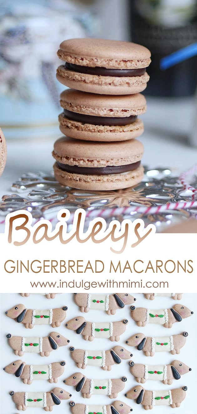 A stack of Baileys ganache macarons with title in the middle and some puppy dog macarons on the bottom.