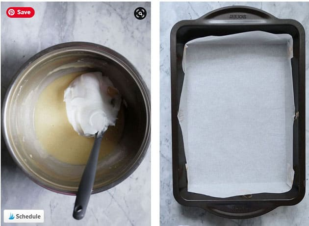 Meringue being folded into a wet peach cake batter, next to it is an empty cake pan lined with parchment paper.