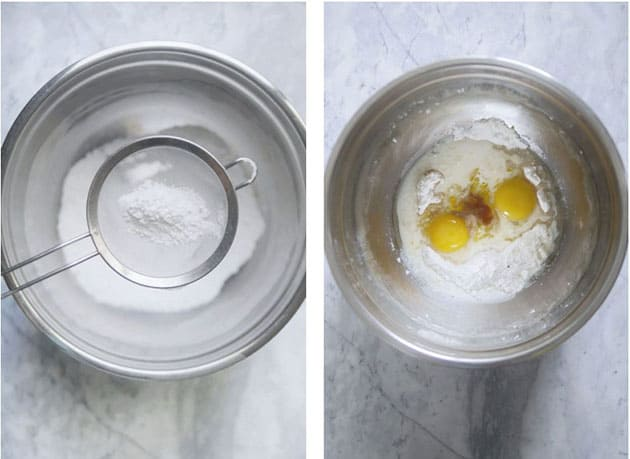 Cake being suspended in a sifter in one picture. Egg yolks and flour in another bowl.