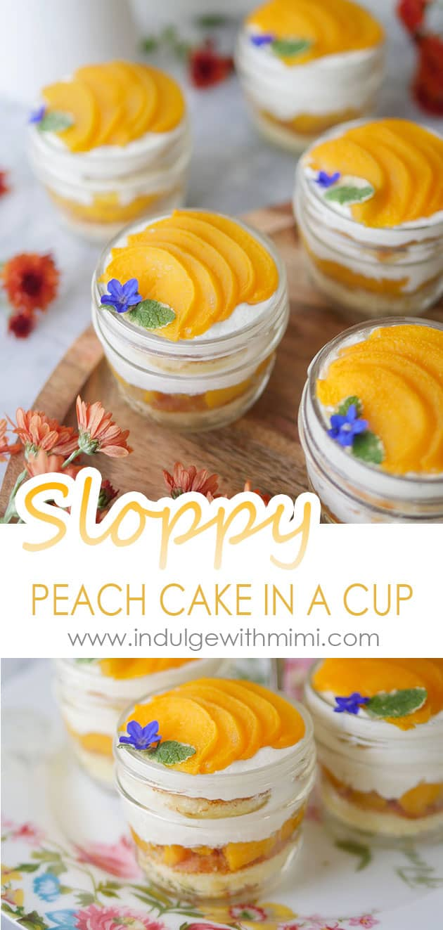Peach cakes in a cup laid out on a table with wild flowers.