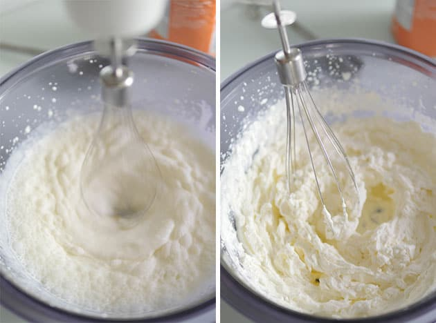 Whipped cream being whipped in a mixing bowl, next picture is whipped cream that has become stiff.