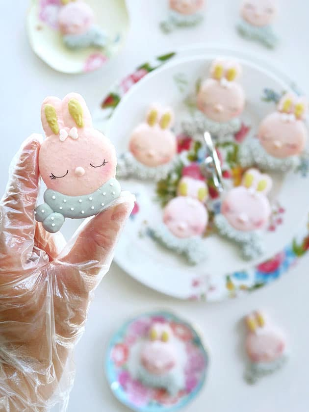 A hand holding a multi-colored bunny character macaron over a plate of other macarons in the background.