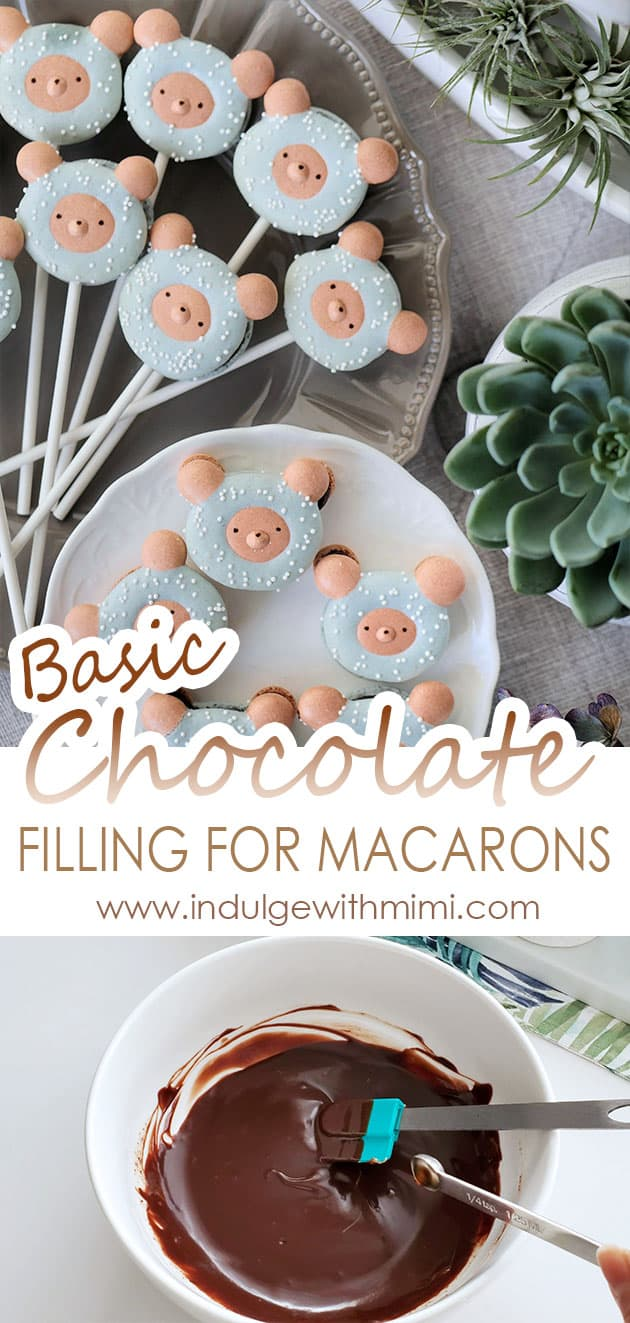 Macaron lollipops in a bear shape on a plate. Below that is a bowl of chocolate macaron filling.