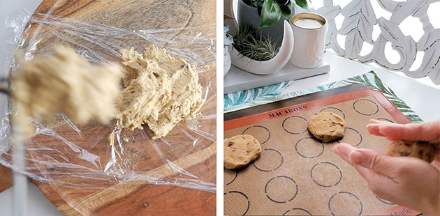 Cookie batter is being rolled into a ball, flattened onto a baking mat.