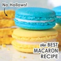 Close up of two non-hollow macarons assembled with fillings.