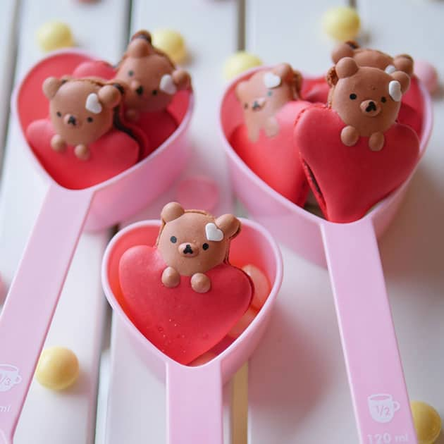 Valentine's Bear on Heart Macarons in Valentine's shaped measuring cups.