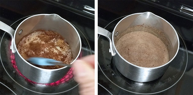 Gingerbread spice in cream being heated in a small pot.