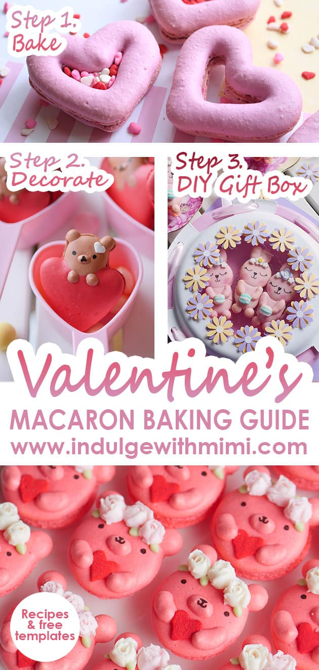 A variety of different Valentine's Day themed macarons plus DIY gift box for holding macarons.