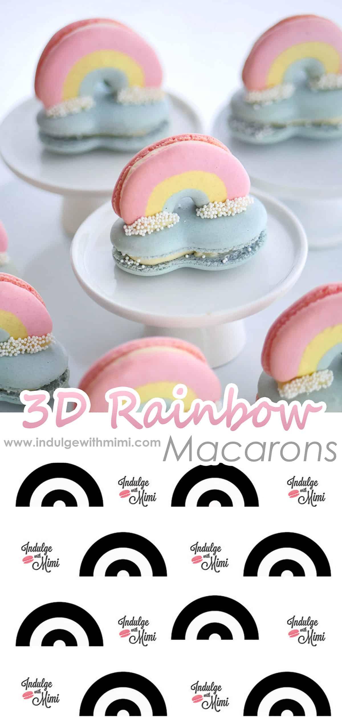 3D rainbow and cloud macaron set with rainbow template below.