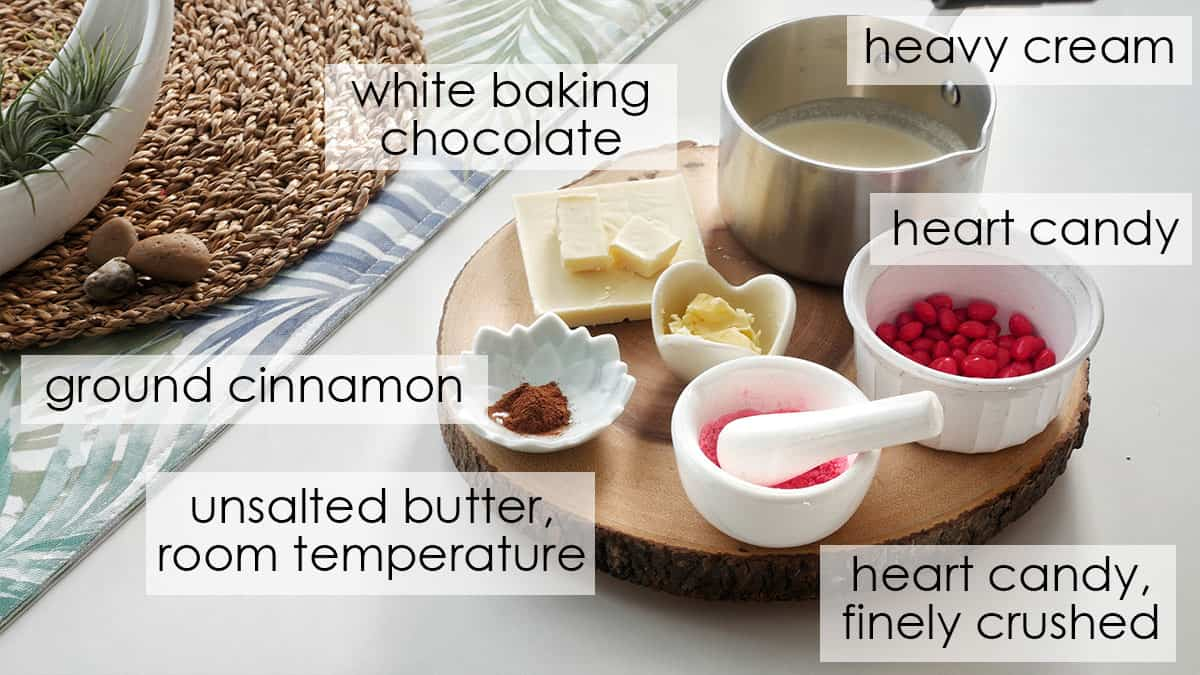 Ingredients for cinnamon heart macarons.