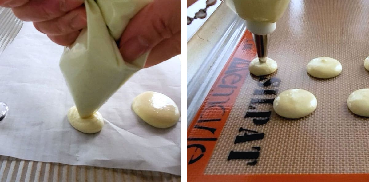 Macaron batter being piped onto parchment paper and silicone mats.