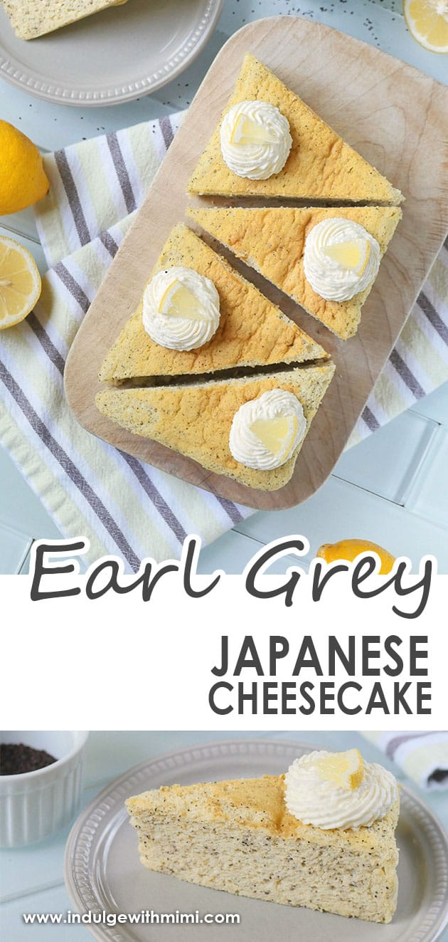 Earl Grey cheesecake cut up into triangle slices on a wooden cutting board.