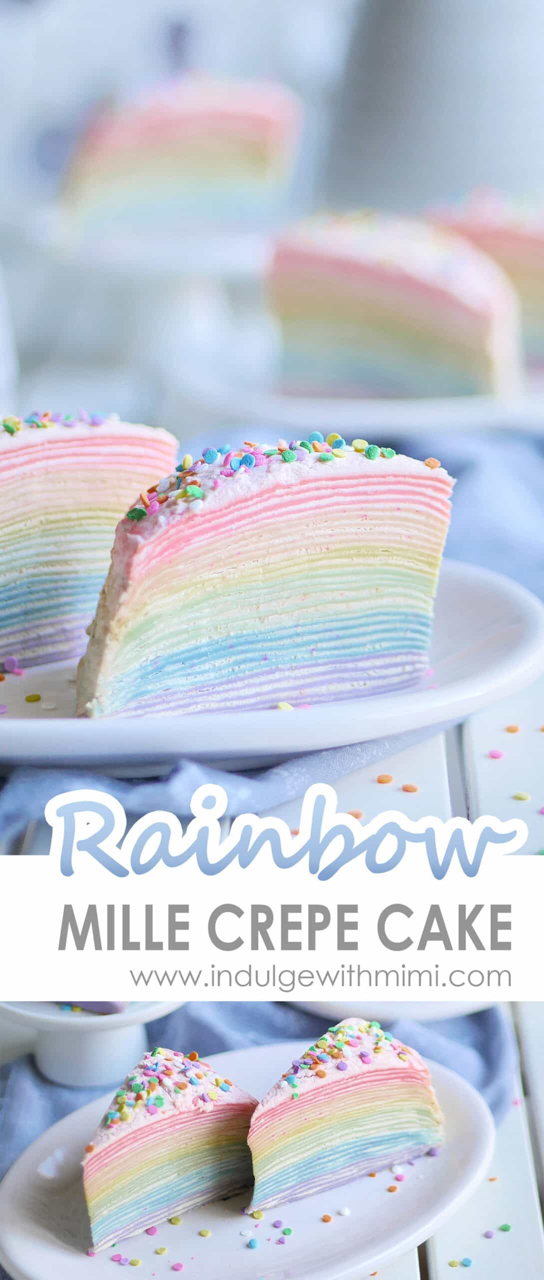 Rainbow crepe cakes on a plate with some slices in the back.