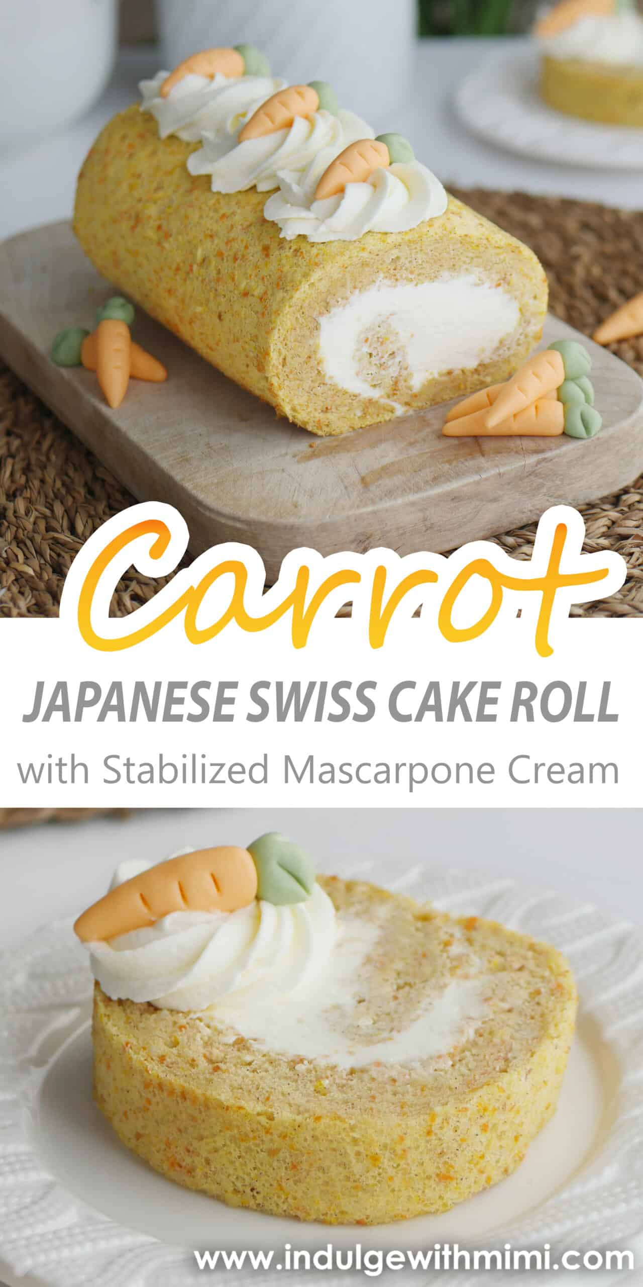 A carrot roll cake with cream and small fondant carrots sitting on a wooden cutting board.