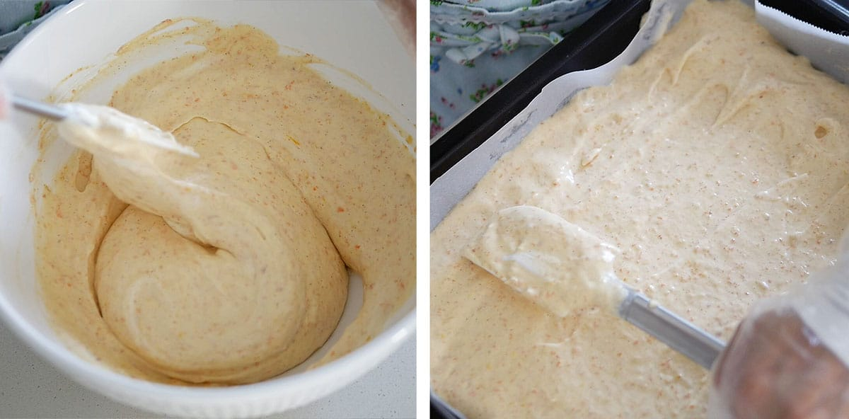 Carrot flour mixture being spread into a parchment paper lined pan.